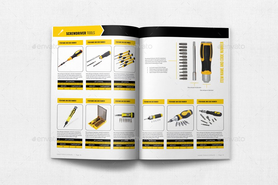 Product Catalog Design Template Luxury Hand tools Catalog Brochure Bundle by Ow