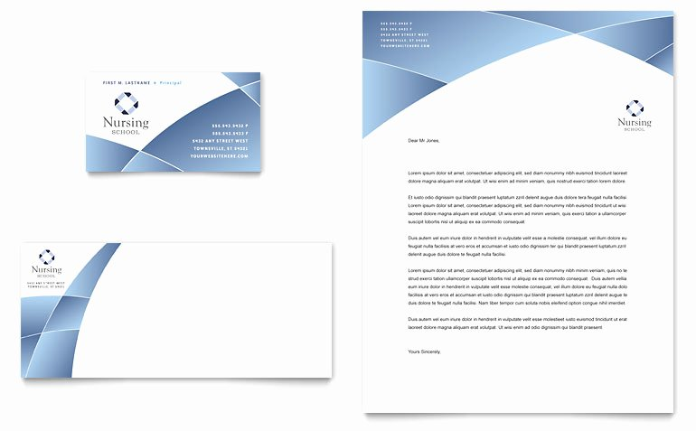 Product Catalog Template Word Luxury Nursing School Hospital Business Card & Letterhead