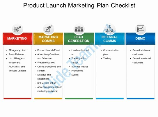 Product Launch Marketing Plan Template Fresh Style Layered Horizontal 5 Piece Powerpoint