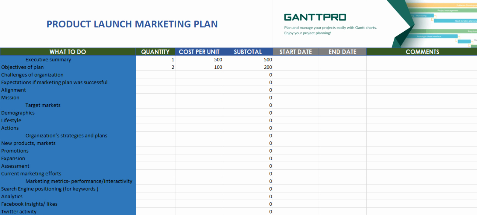Product Launch Marketing Plan Template New Product Launch Marketing Plan Free Download