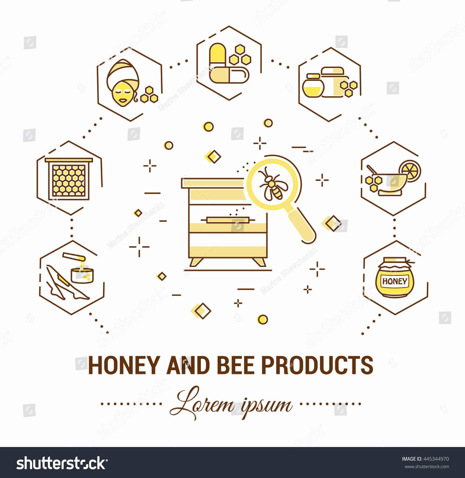 Product Line Card Template Best Of Flat Line Illustration Honey Bee Products Stock Vector