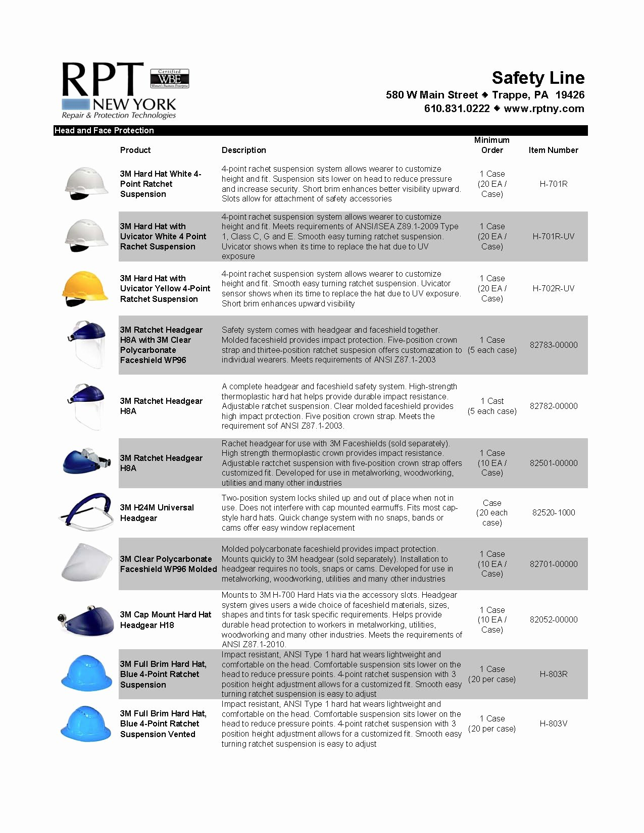 Product Line Card Template Best Of Head and Face Protection Rpt New York