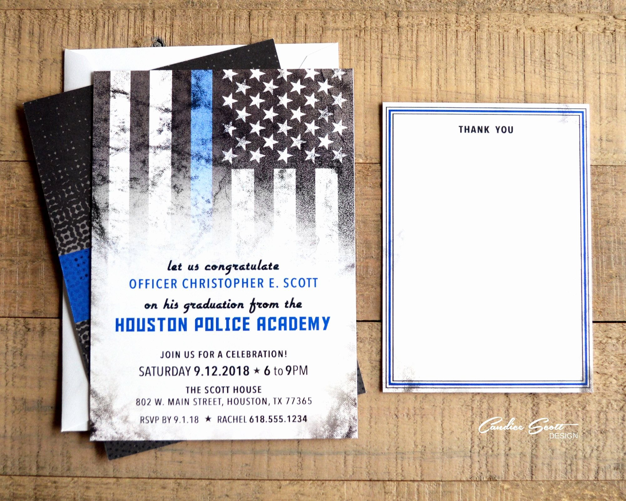 Product Line Card Template New Police Academy Graduation Invitations with Thin Blue Line