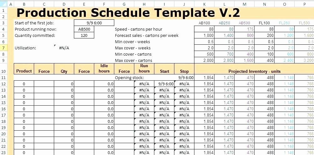 Production Planning Excel Template Unique Excel Production Schedule Template to Production