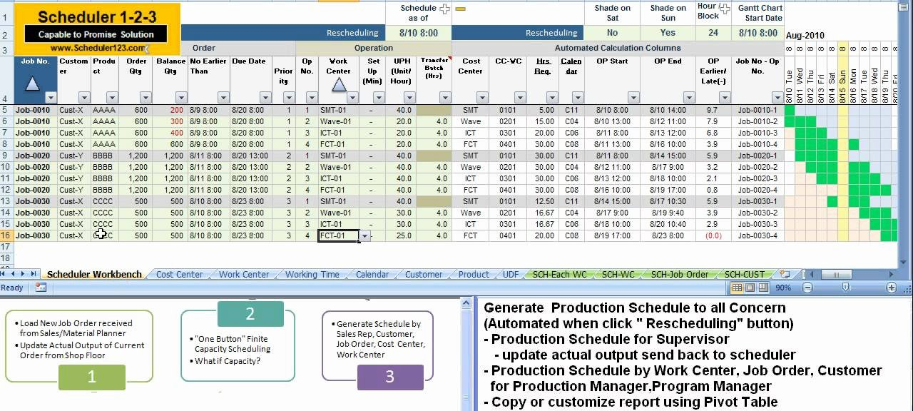 Production Schedule Excel Template Fresh Scheduler123 Partc 5 Generate Production Schedule to All