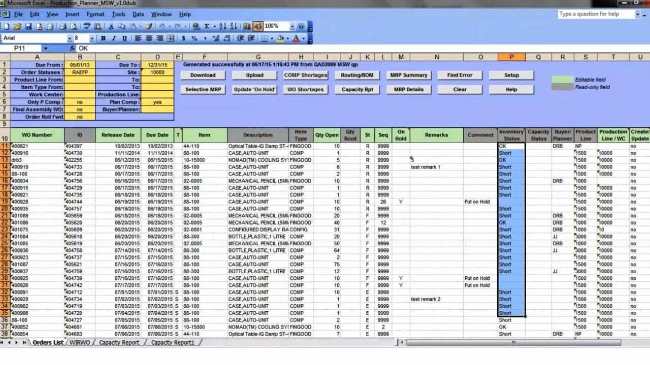 Production Scheduling Excel Template Beautiful Production Planner Wo Excel tool for Qad 32 soft