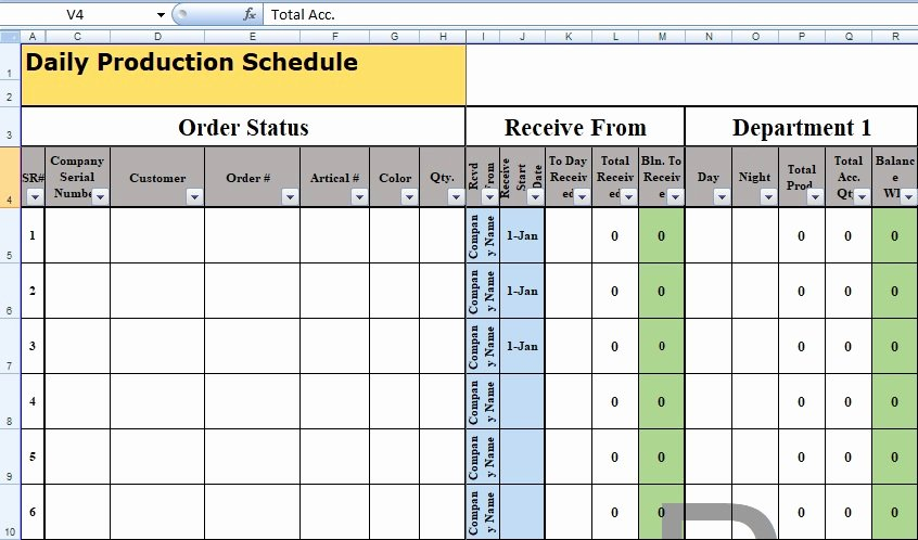 Production Scheduling Excel Template Elegant Daily Production Schedule Template format