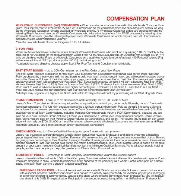 Professional Compensation Plan Template Elegant 9 Pensation Plan Templates
