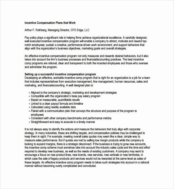 Professional Compensation Plan Template Inspirational 9 Pensation Plan Templates