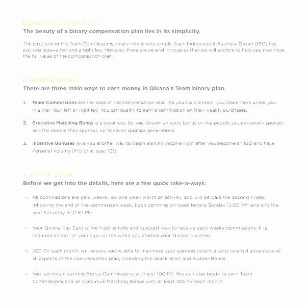 Professional Compensation Plan Template Unique Employee Pensation Plan Example Sales Template