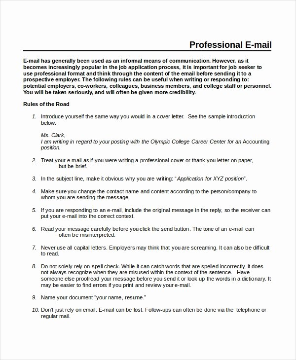 Professional E Mail Template Fresh Professional Email Template 5 Free Word Pdf Document