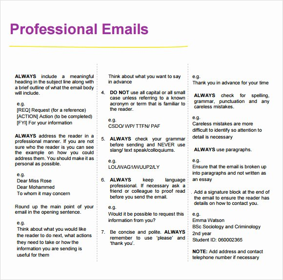 Professional E Mail Template Lovely 8 Sample Professional Emails Pdf