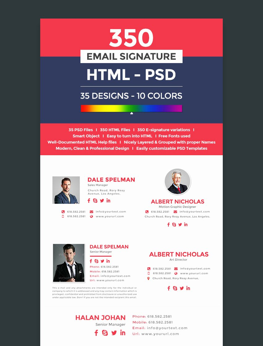 Professional E Mail Template Luxury 18 Professional HTML Psd Email Signature Templates