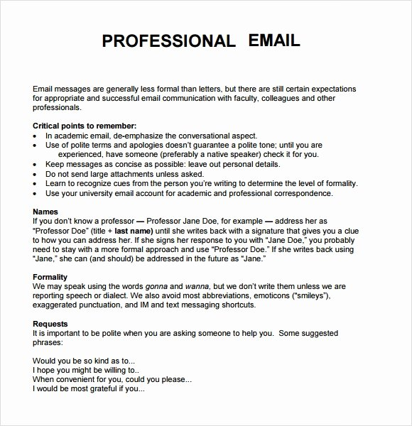 Professional E Mail Template Luxury 8 Sample Professional Emails Pdf
