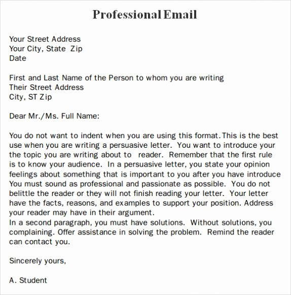 Professional E Mail Template Luxury Professional Business Email format Template Example & Sample