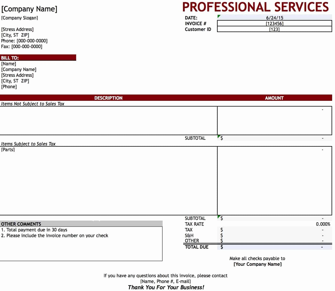 Professional Services Invoice Template Luxury Free Professional Services Invoice Template Excel