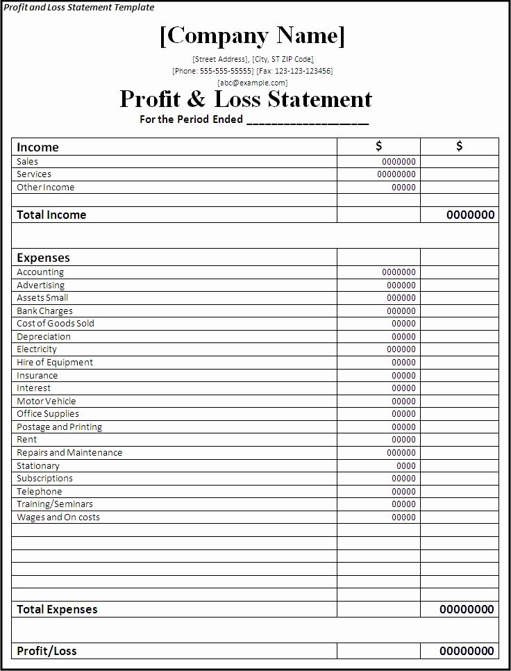 Profit and Loss Sheet Template Lovely Professional Freelance Content Profit and Loss Statements