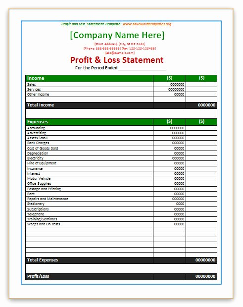 Profit and Loss Sheet Template New Profit Loss Statement Template
