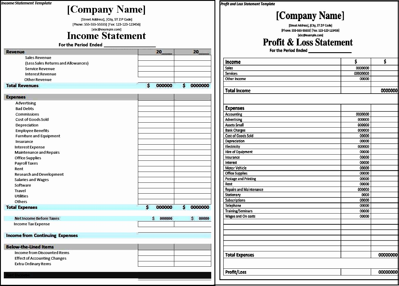Profit Loss Excel Template Awesome Profit and Loss Statement Template Excel