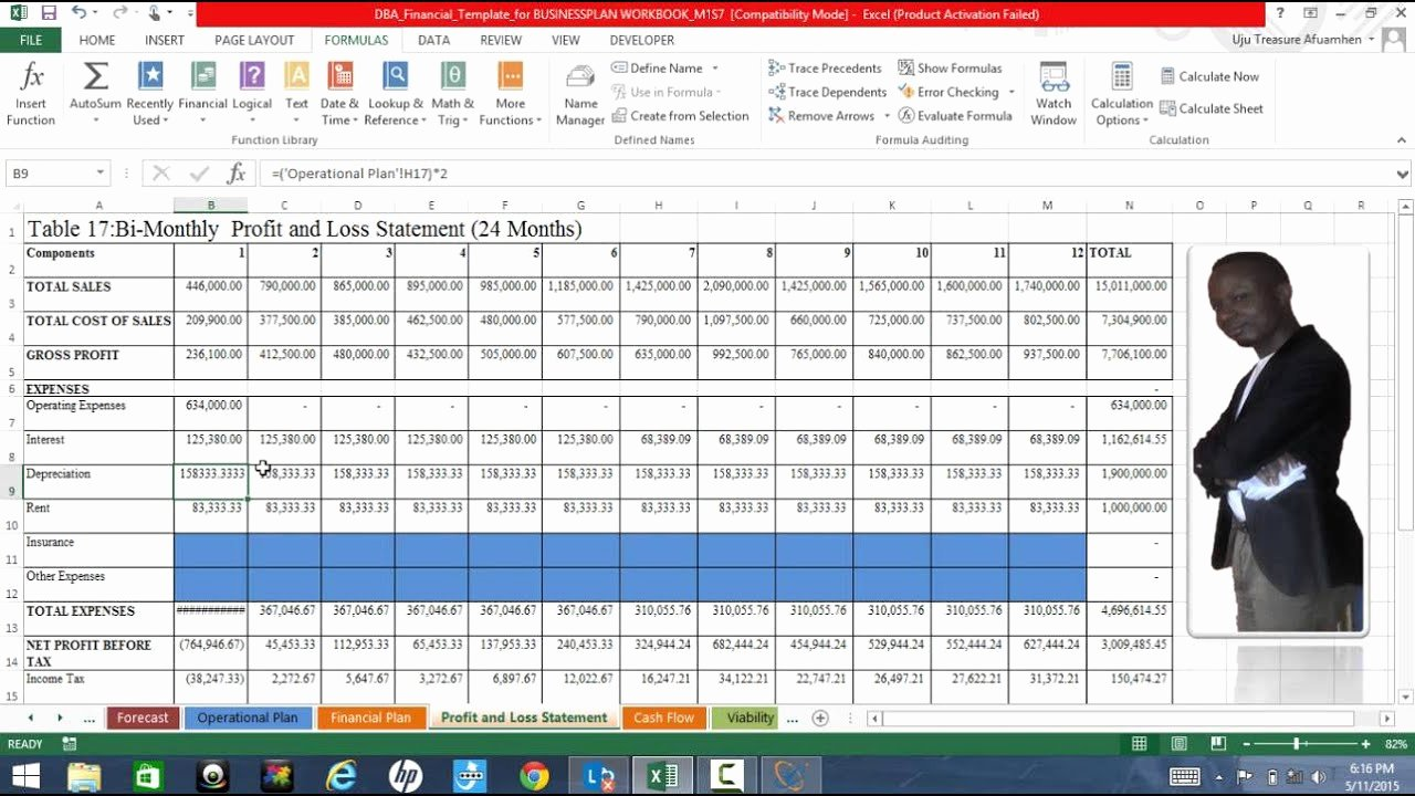 Profit Loss Excel Template Beautiful Business Plan Excel Template Explained Profit and Loss