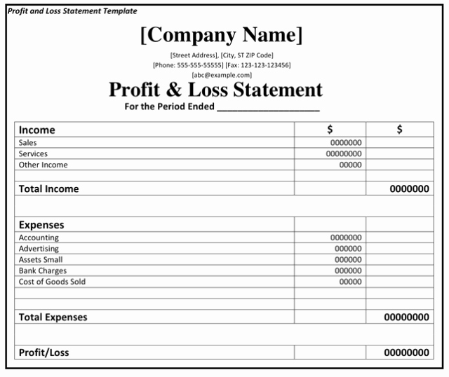 Profit Loss Excel Template Elegant Profit and Loss Statement Template Excel
