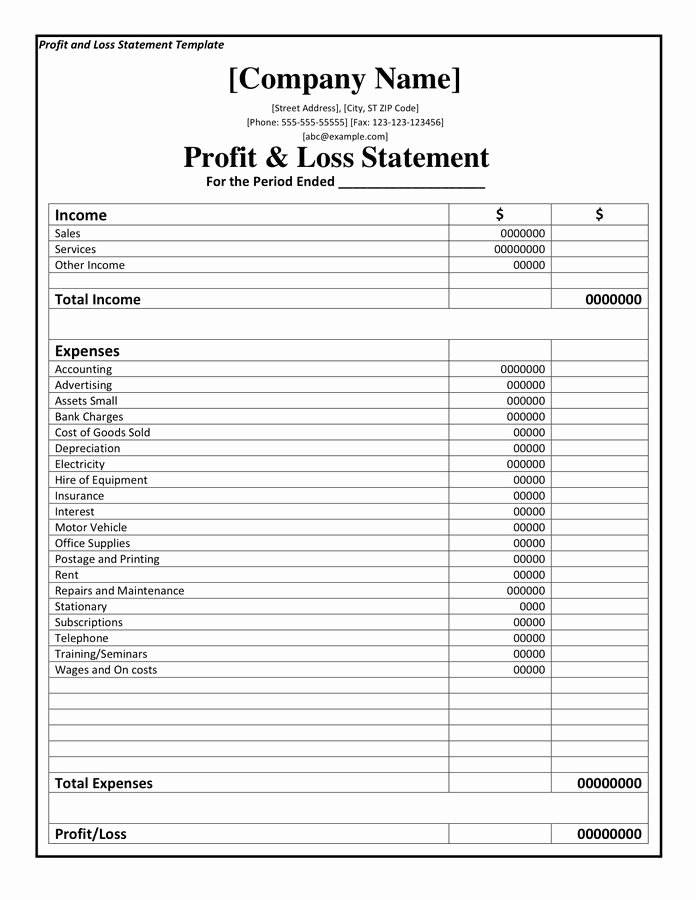 Profit Loss Excel Template Unique Profit and Loss Statement Template Doc Pdf Page 1 Of 1