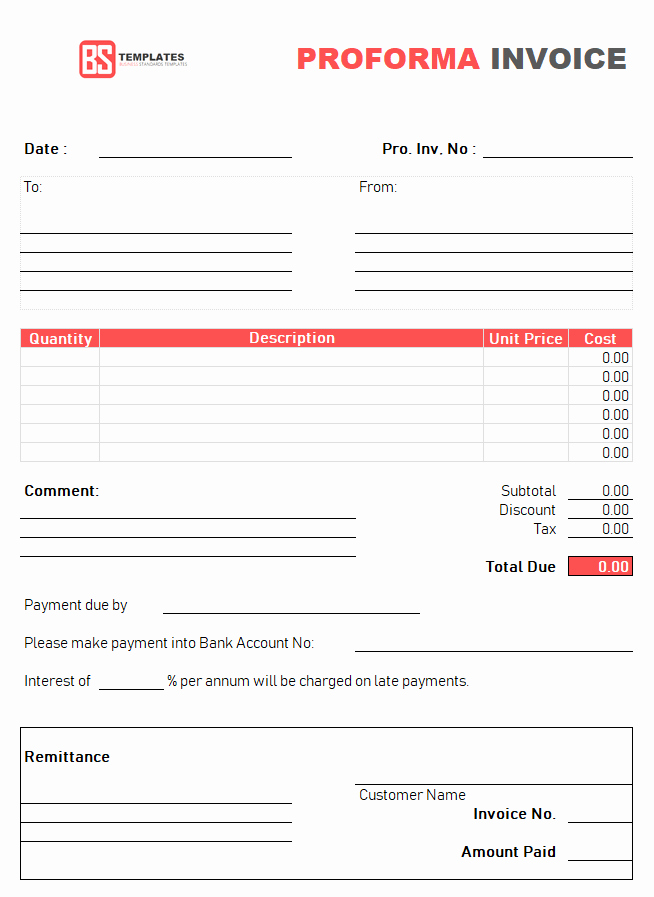 Proforma Invoice Template Excel Best Of Proforma Invoice Template for Excel Free Excel