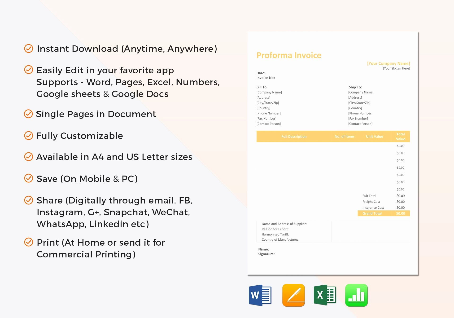 Proforma Invoice Template Excel Best Of Proforma Invoice Template In Word Excel Apple Pages Numbers