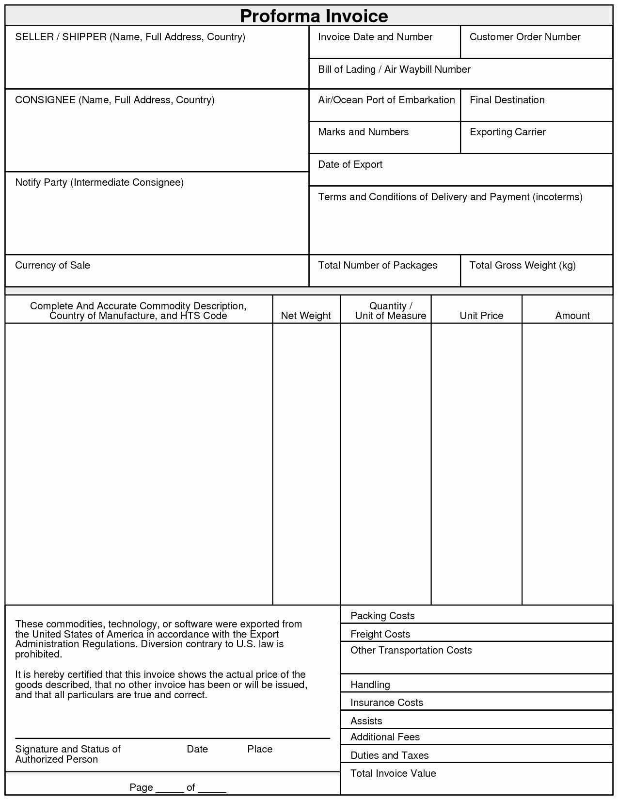 Proforma Invoice Template Excel Elegant Proforma Invoice Template Pdf