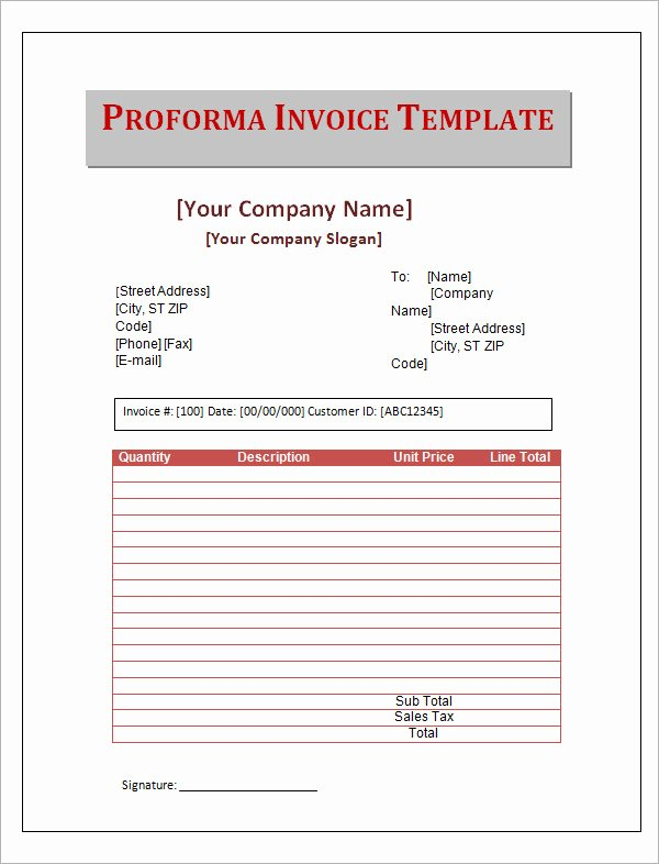 Proforma Invoice Template Excel Lovely 7 Proforma Invoice Templates Download Free Documents In