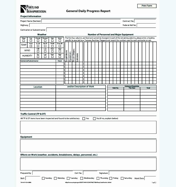 Progress Report Template Excel Beautiful Construction Daily Progress Report form Template forms