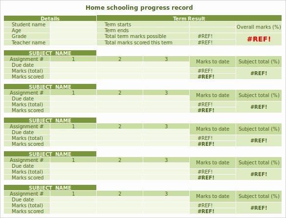 Progress Report Template Excel Best Of 6 Sample Homeschool Report Cards