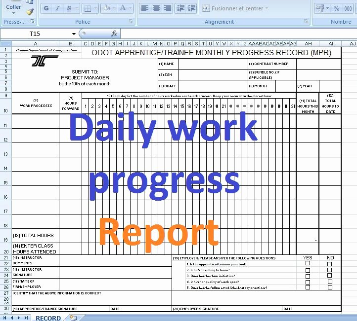 Progress Report Template Excel Luxury Daily Work Progress Report format Excel Templates