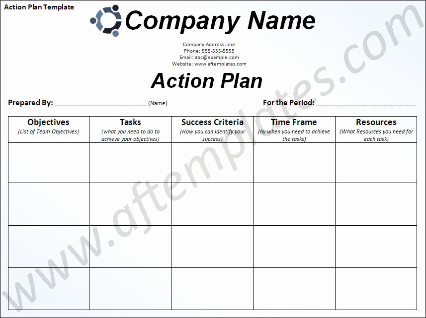 Project Action Plan Template Awesome Free Business Action Plan Template