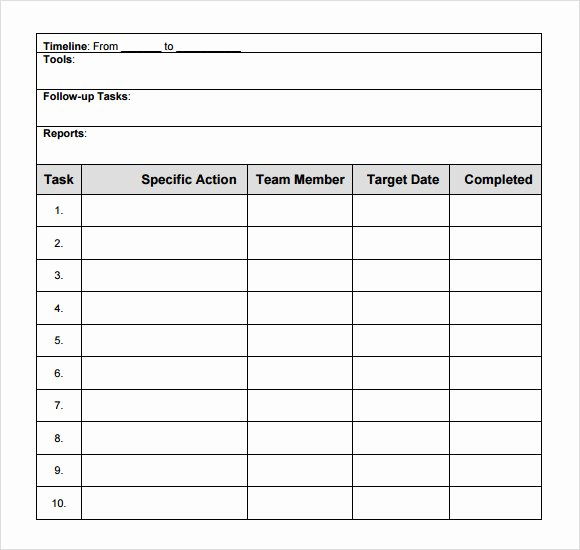 Project Action Plan Template Lovely 10 Sample Action Plans