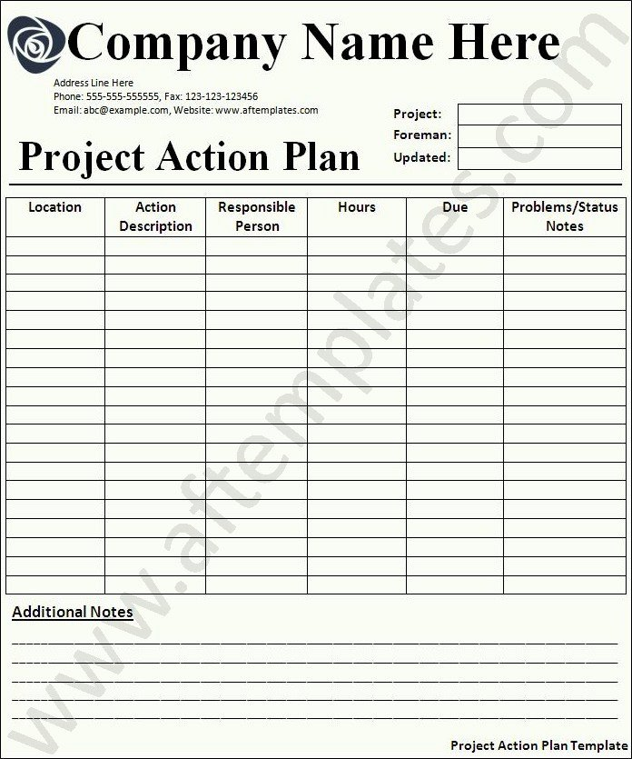 Project Action Plan Template New Action Plan Template