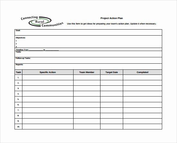 Project Action Plan Template Unique Sample Project Action Plan Template 16 Documents In Pdf