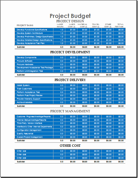Project Budget Template Excel Elegant Project Bud Template for Excel