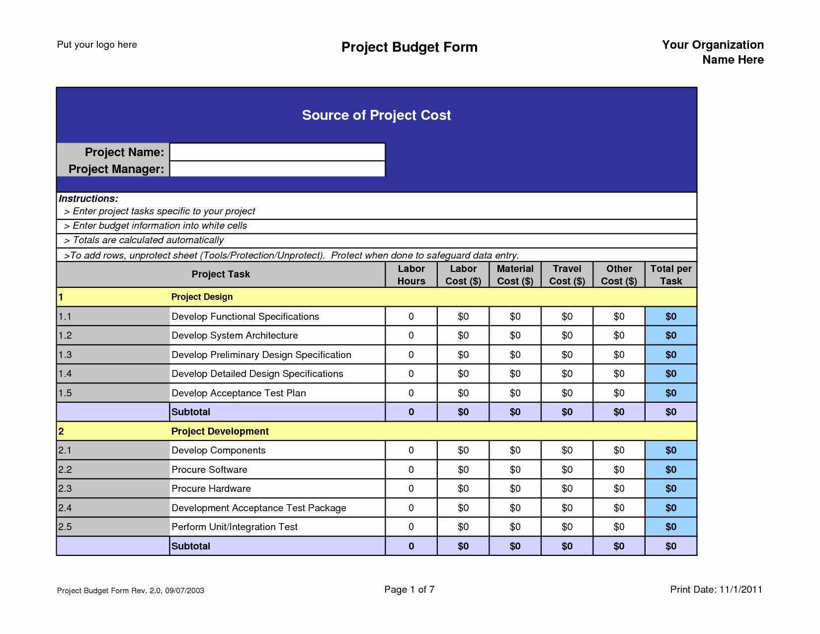 Project Budget Template Excel New Project Bud Template