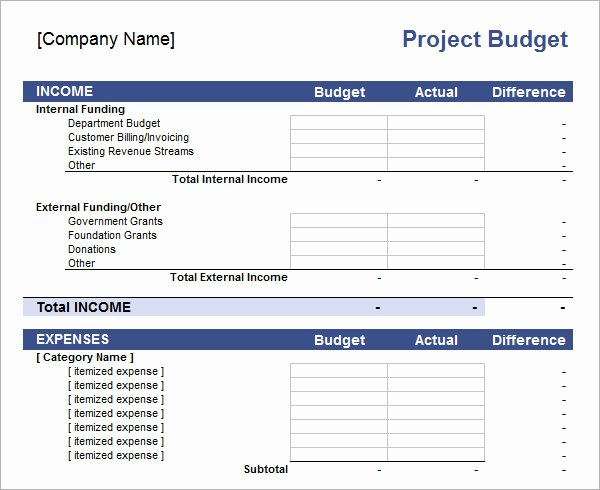 Project Budget Template Excel Unique 11 Sample Bud Templates In Excel