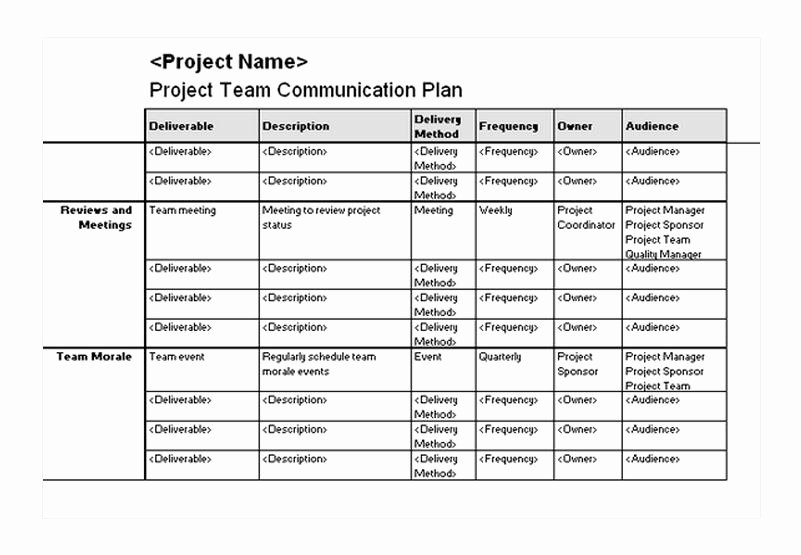 Project Communication Plan Template Awesome Project Team Munication Plan