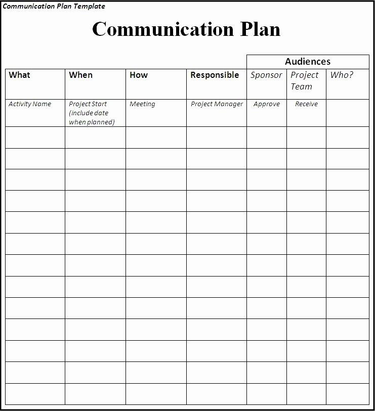 Project Communication Plan Template Beautiful Munication Plan Template
