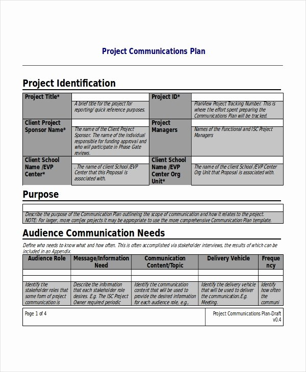 Project Communication Plan Template Beautiful Project Plan Template 10 Free Word Pdf Document