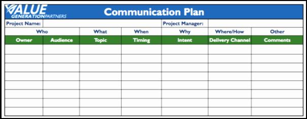 Project Communication Plan Template Fresh Project Management – Page 4 – Value Generation Partners Vblog