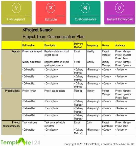 Project Communication Plan Template Fresh Project Team Munication Plan Template Excel