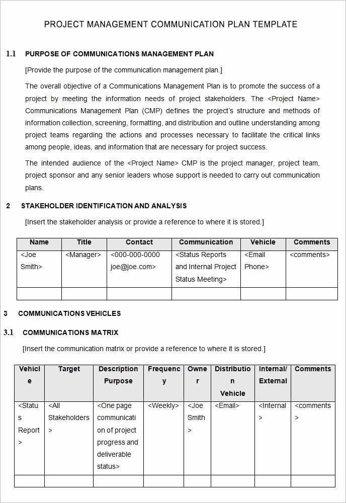 Project Communication Plan Template Lovely 10 Project Management Munication Plan Templates