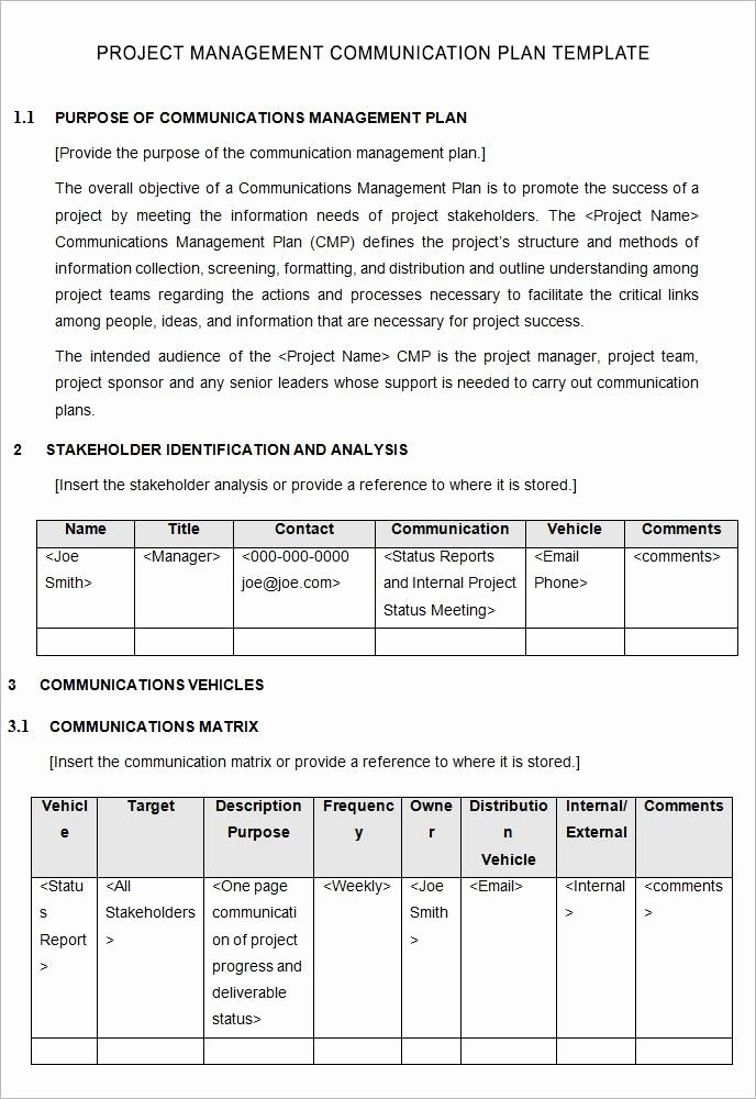 Project Communication Plan Template New Project Management Munication Plan Template 5 Free