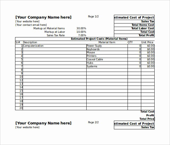 Project Cost Estimate Template Awesome 26 Blank Estimate Templates Pdf Doc Excel Odt