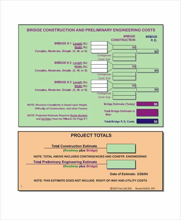 Project Cost Estimate Template Beautiful 8 Project Estimate Templates