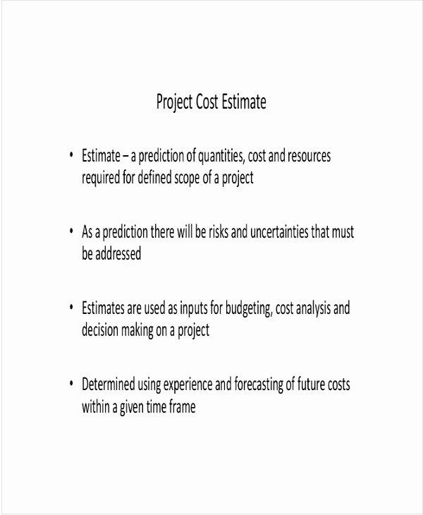 Project Cost Estimate Template Luxury 8 Project Estimate Templates Free Sample Example